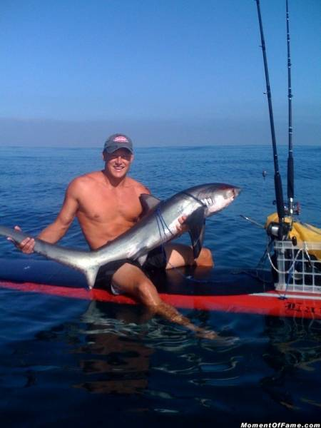 Thresher caught from a Stand Up Paddle Board