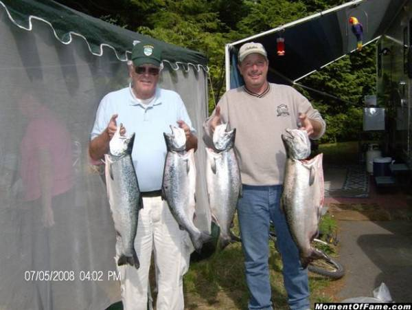 Dad and I with our limits of kings and silvers