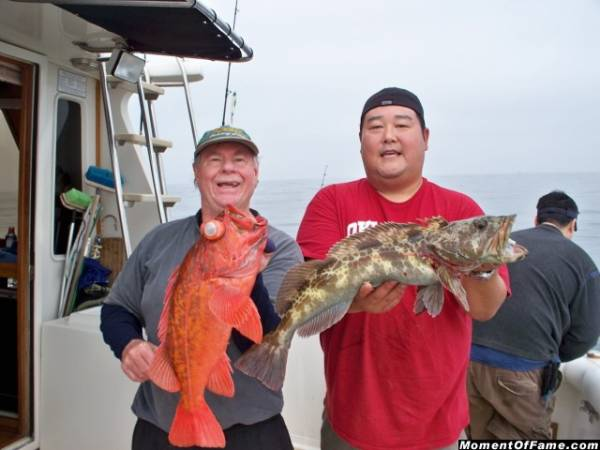 Cory with Red & Rick with Lingcod
